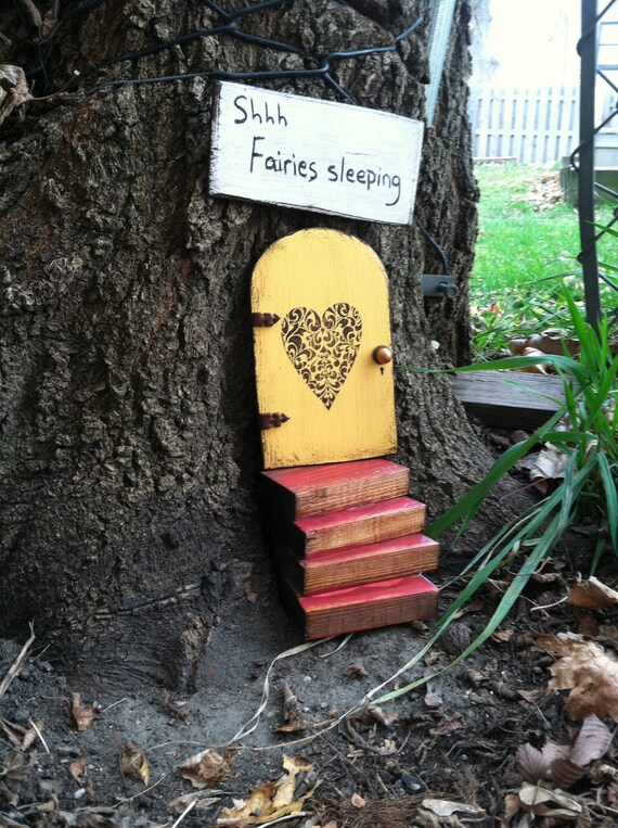Garden fairy door set....fairy door,stairs,and sign, hand painted,stained,and distressed,unique gift, housewarming gift.