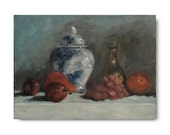 Original Oil Painting, still life, fruit, apples, traditional art, white, steel blue, grey, gray, grapes, blue and white pottery - WhiteBarnStudios