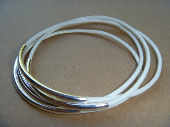 White Leather Silver Tube Bangle Bracelet Set of 4
