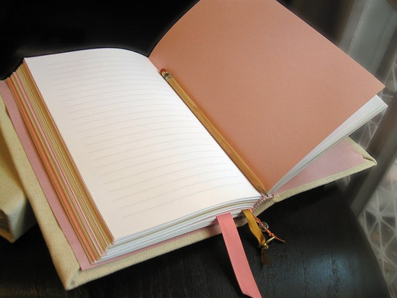 Pink, Gold, and Ivory Canvas Hand Bound Journal with Ribbon Bookmarks and Gold Key Charm