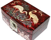 Lacquer ware inlaid new mother of pearl handcrafted jewelry,jewel box Crane design