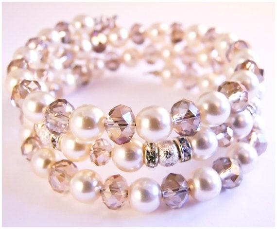 Vintage pearl crystal bracelet, memory wire bracelet, wrapped bracelet swa