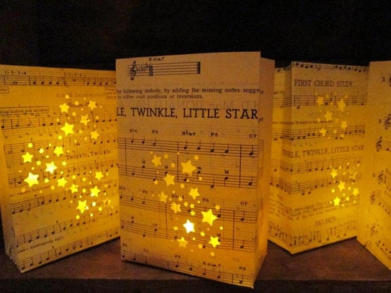20 Twinkle Twinkle Little Star Luminarias, Star Wedding, Star Party, Completely Hand Fashioned from Vintage Sheet Music, Star Decor