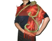 Nuno Felted Flower Scarf Shawl Wrap: Crimson Brick Red Green Mint, Orange, Wool, Lace. OOAK. Splendid, Light. Gift under 50