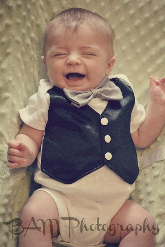 Faux Vest Onesie: Black Satin vest, white buttons, and grey bowtie 0-3, 3-6, 6-9, 12, 12-18, or 24 months