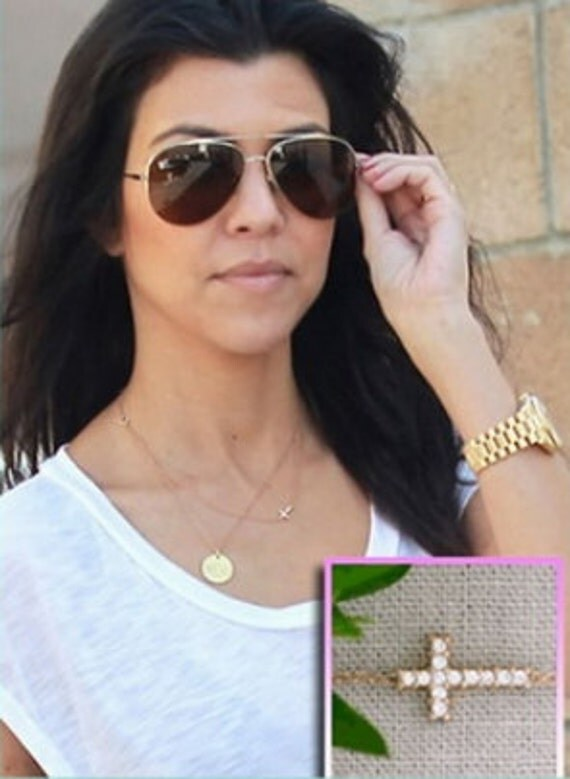 SALE- Sideway Cross Necklace- CELEBRITY INSPIRED- Pave Crystal & Gold Necklace- Ships Now