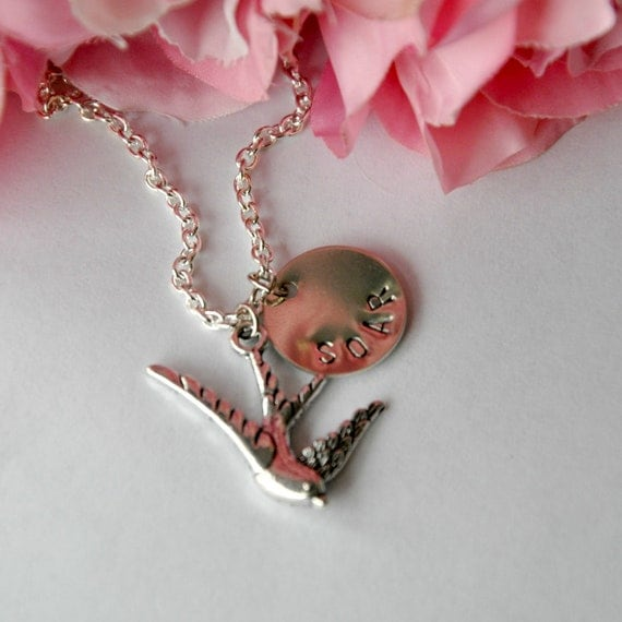 Hand Stamped Necklace -Soar - Bird Swallow - Nickel Silver Personalized Jewelry