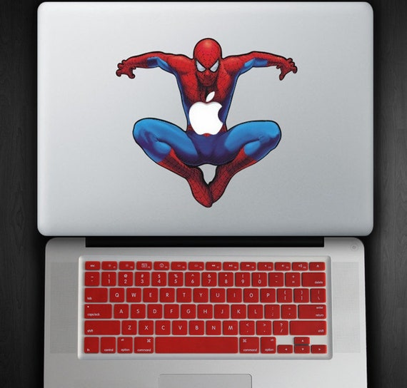 Red Keyboard Cover and Spider Man Decal COMBO for Macbook Pro / Air FITS ALL
