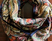 Autumn Paisley Infinity Scarf with Cobalt Blue Trim, Chunky Scarf, Oversized scarf - Northernly