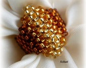 Seed bead jewelry. Gold honey brown ring, autumn fashion, right angle weave jewelry, OOAK
