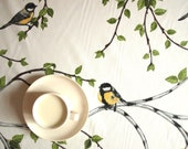"Tablecloth white with tree and birds 37""x56"" or made to order your size, also napkins, table runner available, with GIFT - Dreamzzzzz"