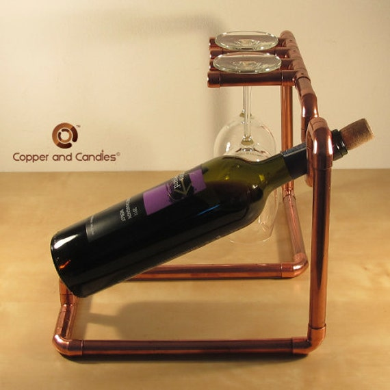 industrial copper wine bottle holder