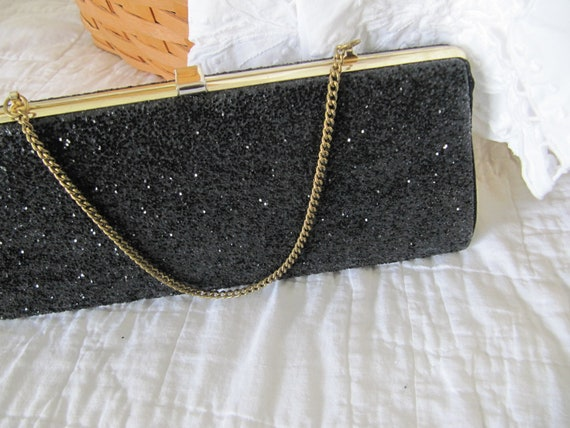 SALE Mid Century Black Clutch Purse - Vintage Glitter Clutch - Vintage Evening Bag - Black Clutch
