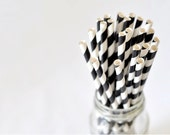 Paper Straw Striped - Black x 25 - BacktoZero