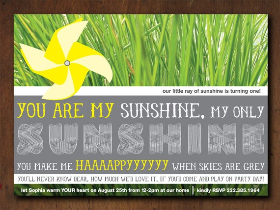 PRINTABLE You Are My Sunshine Birthday Party Invitation