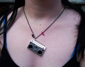 Boombox Necklace with lightening bolts
