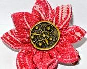 Flower hair accessory- Red flat petal fabric kanzashi flower hair clip