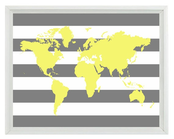 World Map Wall Art Print 11x14 - Yellow Gray Stripe Decor Nursery Children Kid Room - Wall Art Home Decor