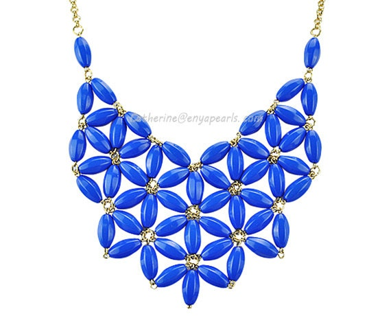 Royal Blue Bib Necklace,Chunky Necklace, Statement Necklace (Fn0511-Royal Blue)
