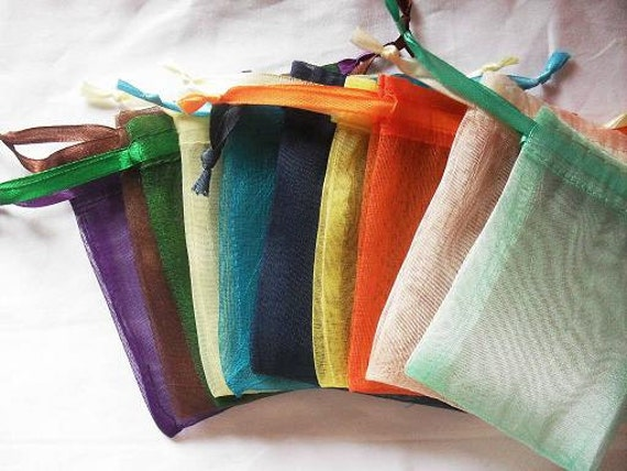 Clearance Sale 100 Organza bags in 15 assorted colors , 3x4 inch