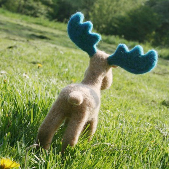organic woolen moose kid's toy