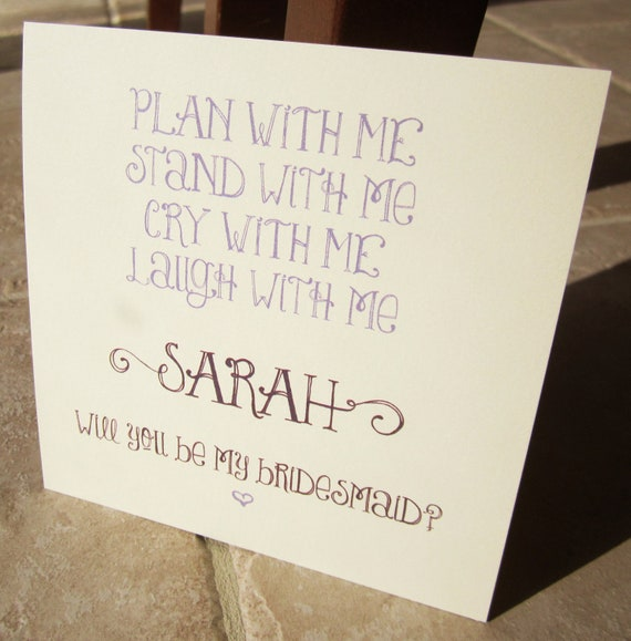 """4 Personalized Will You Be My Bridesmaid Cards """"Plan, Stand, Cry, Laugh"""""""