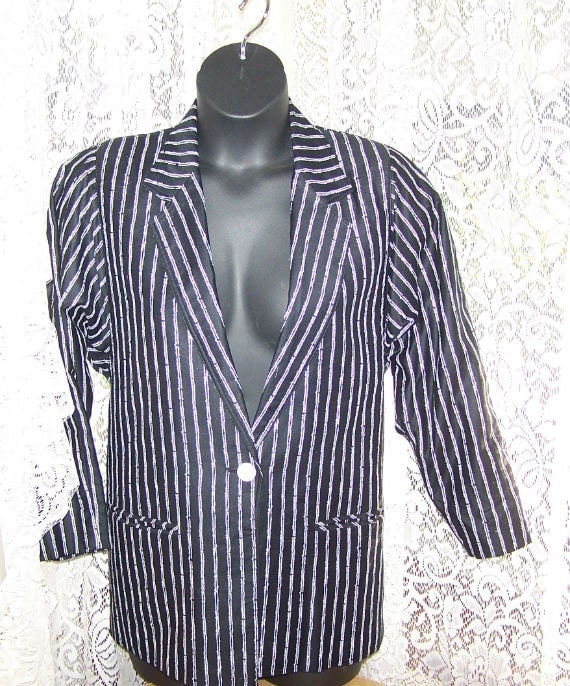 Black and White Women's Tuxedo Jacket