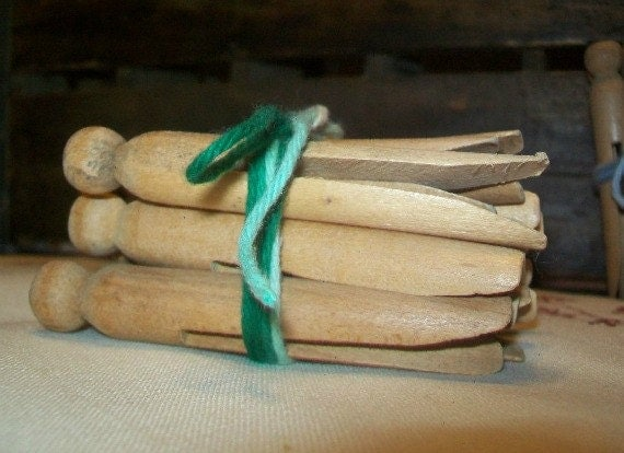 RESERVED FOR CINDY S. - Wooden Vintage Laundry Pegs