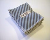 CLEARANCE 6 Blue and dark grey stripes // original washable kitchen sponges // Organic hemp fleece