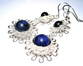 Silver wire earrings lapis lazuli