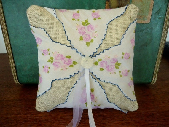 Ring Bearer Pillow Burlap Vintage Handkerchief  in Blue / White Rose Floral / Flower Wedding Ceremony Pillow with Cream Button and Ribbon
