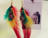Reggae Cocktail Earrings - Original handmade earrings, red gold green feather and beads, coconut beads, Reggae & Rastafari inspiration