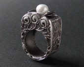 Silver Pearl Ring with Lace texture - KeshiJewelry