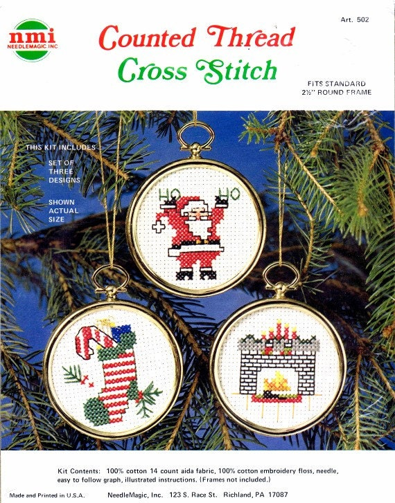 Christmas Ornaments Santa Claus Candy Cane Stocking Fireplace Counted Thread Cross Stitch Kit NMI Needlemagic