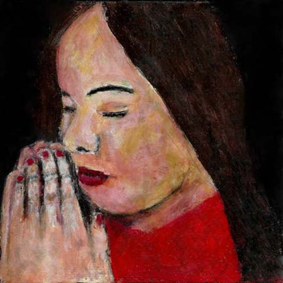 6x6 Acrylic Religious Spiritual Portrait Prayer Painting Little girl praying Hands clasped Black background Original painting no 1