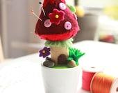 Pincushion and Home Ornament - Mushroom Love in a Porcelain Pot - Zakka Love