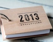 "2013 New Years Resolutions notepad - wood mini notepad (3"" x 2"") - quotesandnotes"