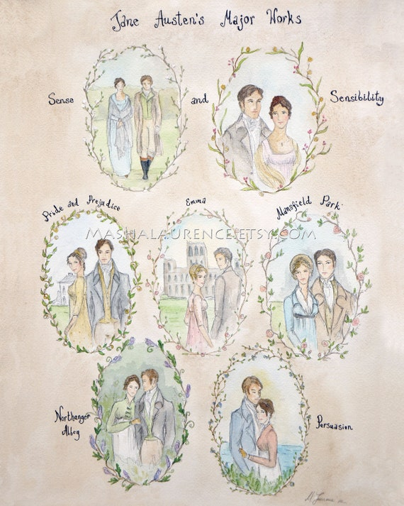 Major Works of Jane Austen Poster 16x20.  Pride and Prejudice. Persuasion.Emma.Northanger Abbey. Mansfield Park