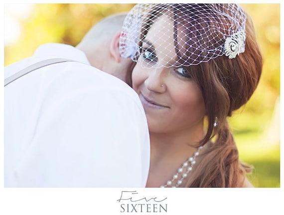 Birdcage Veil - Wedding Hair Accessories, Bandeau Style Veil, Vintage Bride, White or Ivory - Plain Veil ONLY