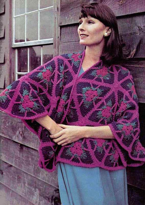 Vintage Crochet Pattern PDF 244 Granny Triangles Shawl Retro