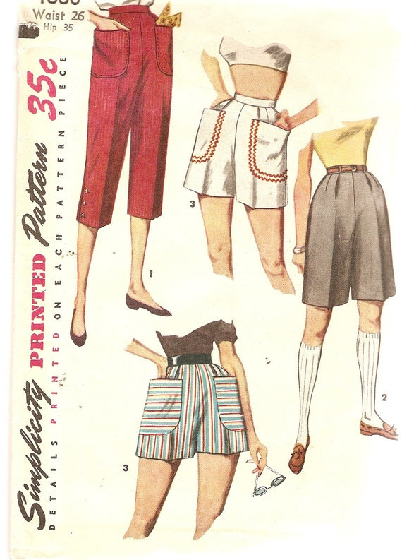 1950s Pattern Pedal Pushers Capris Pattern Shorts Pattern Waist 26 Simplicity 4680 UNCUT Vintage Sewing Pattern