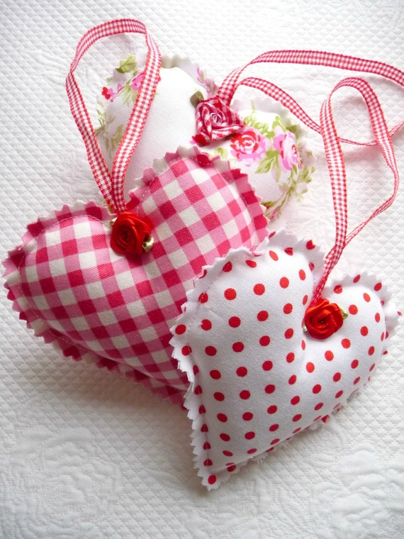Shabby Chic Decorative Red Gingham, Polka Dot, Floral Hanging Hearts, Christmas Ornament, Satin Roses, Valentine, Trio