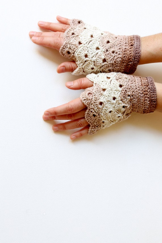Hand Crochet Fingerless Gloves / Front page / winter fashion/ chiristmas Gift/ Beige brown. xoxo