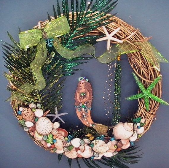 Large Green Glitz Mermaid Wreath