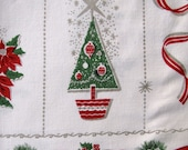 Vintage Christmas Tablecloth Linen Mid Century Tree Pine Candles Ribbons - KerryCan