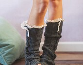Smoke Gray Lacy Knitted Button Down Leg Warmers Boot Cuffs (LWK1) with Crochet Trim Button Up LegWarmers - ThreeBirdNest