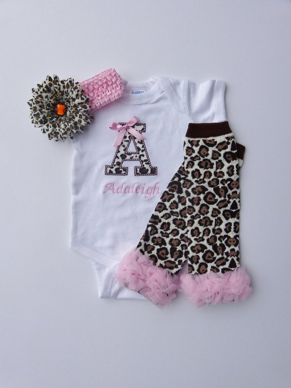 Personalized Monogram Cheetah Pink Onesie Baby Girl Diva Gift Set With Leg Warmers