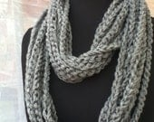 Free US Shipping: Gray Infinity Crocheted Rope Chain Necklace/Scarf