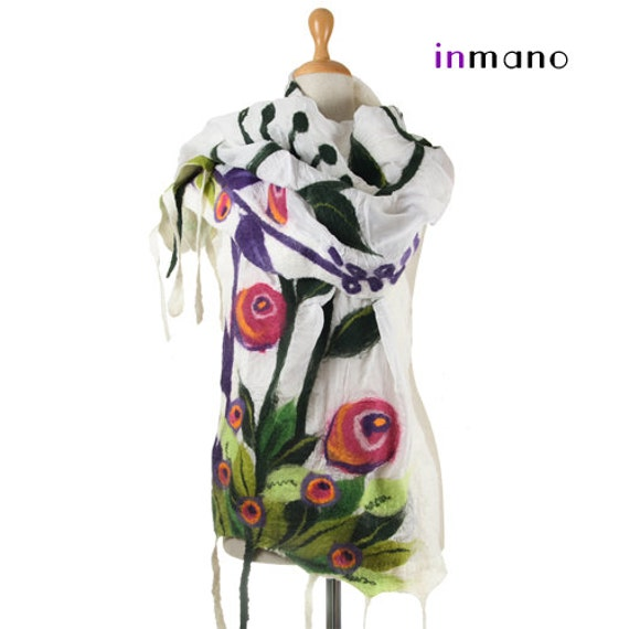 nuno felted scarf, spring meadow - silk and wool nuno felted scarf, felted shawl, felted wool scarf by inmano