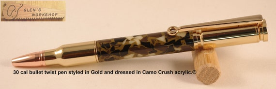 Handmade 30 cal Bullet Pen gold, copper tip, Camo Crush